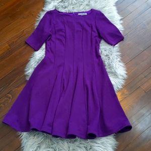Purple 3/4 sleeve a line dress